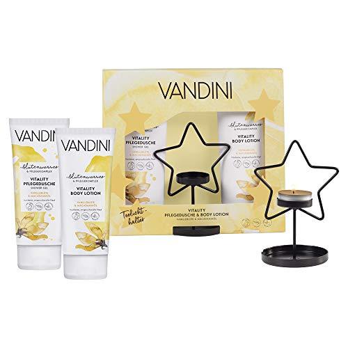 VANDINI Geschenkset mit Teelichthalter, VITALITY Pflegedusche und Bodylotion (2x200ml) - Vanilleblüte & Macadamiaöl -