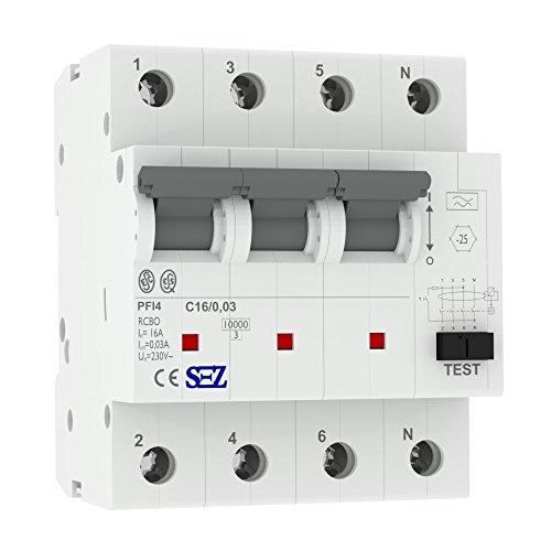 SEZ FI/LS RCBO C 16A 30mA 4P 10kA PFI4 C16A Leitungsschutzschalter FI-Schalter Kombi 1473