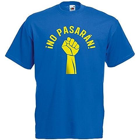 Ningún Pasaran como llevado por la camiseta del alboroto del gatito Xx-Grande, colorea el azul