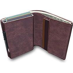 KOOGOO Cuero Tarjetero RFID Cartera Crédito,Slim y pequeña Portatarjetas extraíble para Identificación Tarjetas Crédito Licencia de Conducir,Cartera Inteligente de Piel auténtica (Brown)