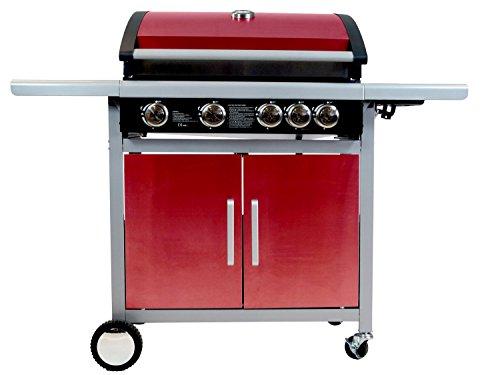 Traedgard® Gasgrill Indio 500 rot, Grill mit 5 Brennern, Seitenbrenner, Schutzhülle, Gasschlauch und Druckminderer, 66689