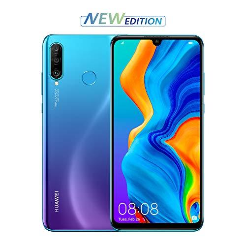 huawei p30 lite new edition (blue) smartphone + cover. memoria più ampia da 6gb + 256gb e nuova fotocamera anteriore 32 mp. tripla fotocamera posteriore da 48+8+2 mp, [versione italiana]