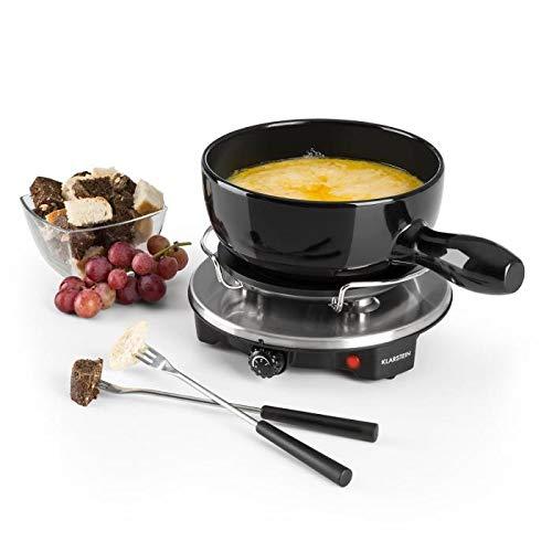 Klarstein Sirloin Käsefondue - Fondue-Set, Raclette mit Fondue, emaillierter Keramiktopf, 1200 Watt, Thermostatschalter, rutschfest, schwarz