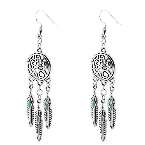 Gaddrt Ohrringe aus Silberlegierung, Vintage-Design, Federn, Antik-Silber, Türkis, Traumfänger, baumelnde Ohrringe