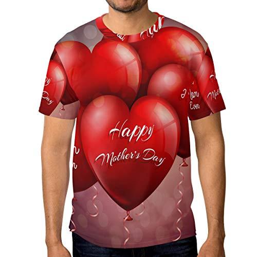 T-Shirt für Männer Jungen Reizendes Herz steigt glückliche Mutter-Tageskundenspezifische Kurze Hülse im Ballon auf - Haut-ebene Ballon