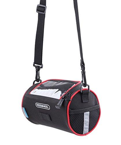 Tofern Fahrrad Lenkertasche für Rennrad Mountainbike Klappfahrrad mit Seitentaschen PVC Touchscreen Tasche Reflektierenden Streifen oder Logo Handy beim Radfahren Bedienbar Schwarz Rund