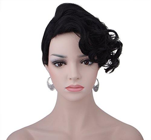 spretty-synthtique-femmes-cheveux-courts-et-demi-boucls-wavy-bangs-perruque-pour-cosplay-noir