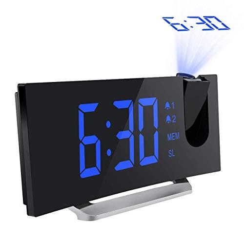 """Mpow FM Radio Reloj Despertador con Proyector de Alarma Dual con 4 Sonidos, 3 Tonos, 5 Brillos, Pantalla LED 5\"""", Puerto USB, 12/24 horas, Snooze, Azul"""