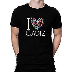 Camiseta I love Cadiz colorful hearts
