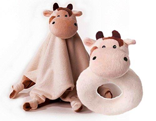 Inware - 2er-Set Rassel und Schmusetuch Kuh Millie, beige/braun (Kuh Rassel)