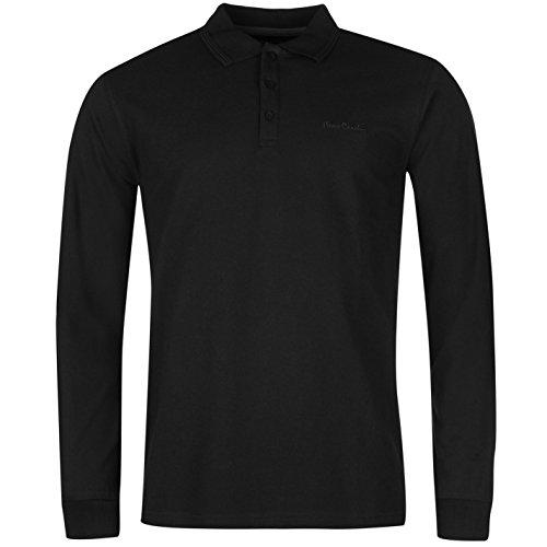 pierre-cardin-uomo-polo-t-shirt-semplice-manica-lunga-casual-colletto-maglietta-nero-medium