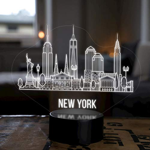 LED Deko Lampe New York City Skyline - Elbeffekt - USA Amerika Dekoration - Reisen Travel Souvenir Geschenk Andenken