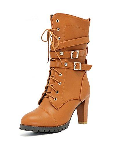Minetom Otoño Invierno Cómodas Para Mujer Zapato Boots Shoes Cuero Botines Botas De Martin Callejero Moda Tacones Altos Casual Elegante Caqui EU 39