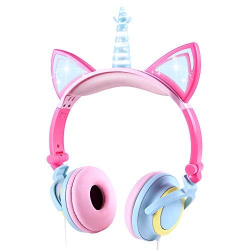 Cuffie per Bambini Unicorno, Sunvito Orecchio sopra con orecchie di gatto incandescente a...