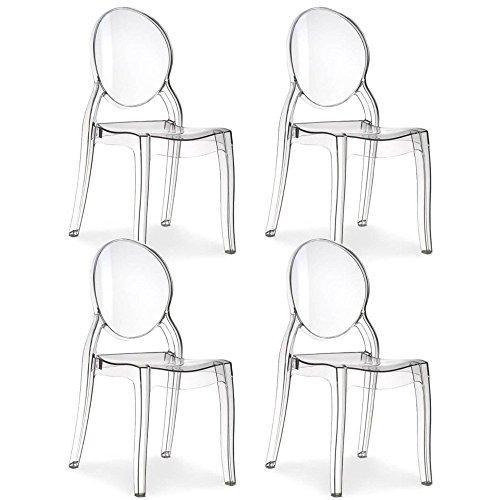 INSIDE Lot de 4 chaises médaillon IMPÉRATRICE style Louis XVI en polycarbonate transparent