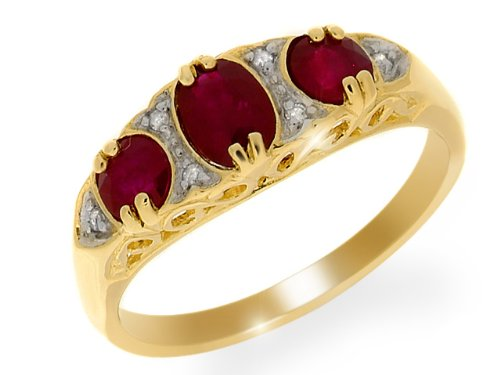 Ivy Gems 9ct Yellow Gold Ruby & Diamond Antique Syle Half Eternity Ring