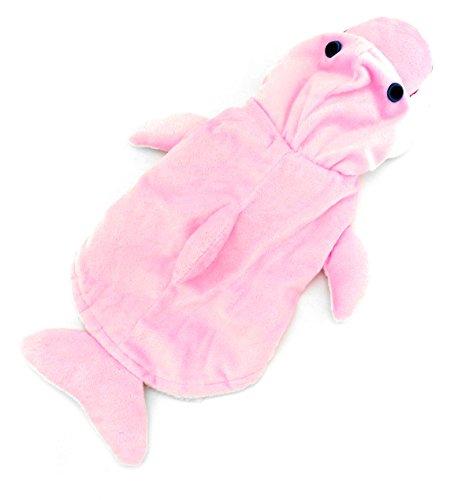 zunea Halloween Hund Delfin Kostüm mit Kapuze Samt Warm Coat Cosplay Mottoparty Kleidung, für kleine Hunde/Katzen