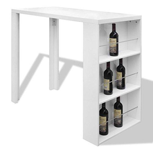 Vidaxl tavolo da bar in mdf con portavini bianco lucido tavolo alto da cucina
