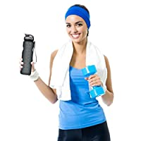 Sports Water Bottle, 35oz/1L Drinking Bottle - BPA Free - Flip Top Leak Proof - One Click Open for Outdoor & Gym Sport