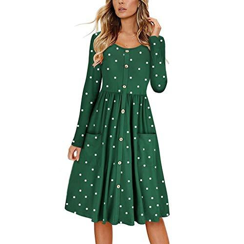 OIKAY Partykleid Damen Frauen Dot O Neck Button Kleid Langarm Tasche Lässig Strand Langes Maxikleid Damen Kleid