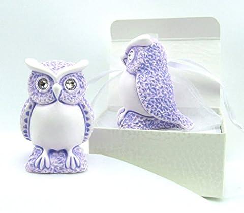 Eule, Eulenfigur in einer Geschenkverpackung, MADE WITH SWAROVSKI® ELEMENTS, Deutsche Handarbeit (lila patiniert)