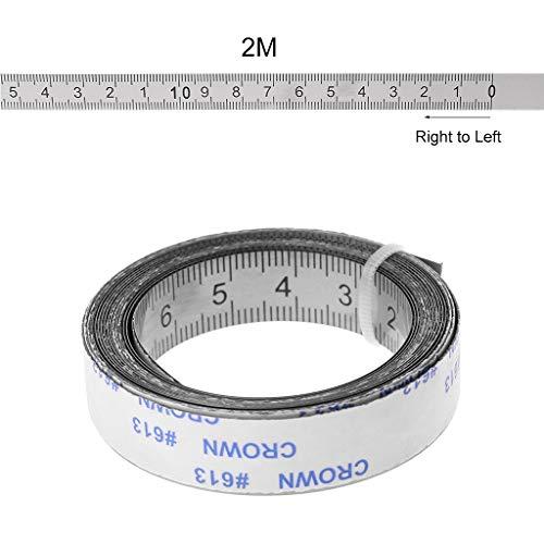 JunYe Edelstahl Gehrungsschiene Maßband Selbstklebende Metrische Skala Lineal 1 Mt-3 Mt Für T-Track Router Tischkreissäge Holzbearbeitungswerkzeug - Rechts nach Links - 2M - Glas-digital-skala