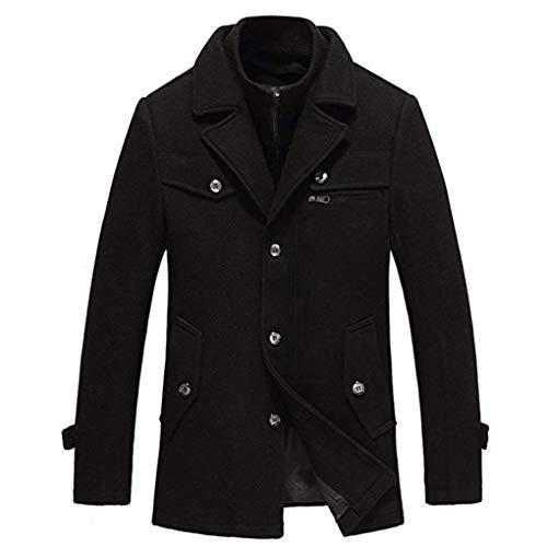Hyvaluable Herren Jacken Herren Wollmischung Wintermantel Mittellange Dicke und warme Outwear PEA Coats (Farbe : SCHWARZ, größe : XL/180)