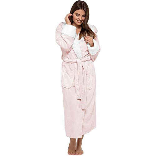 Wolf & Harte Women's Soft Touch Shimmer Fleece Sherpa Lined Hooded Bath Robe, Soft Pink, Size UK 12-14