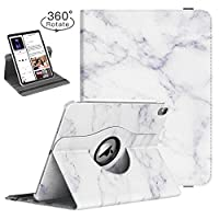 """TiMOVO Folio Case for iPad Pro 11 Inch 2018 - [Support Apple Pencil Charging] 360 Degree Rotating Smart Leather Swivel Case with Auto Sleep/Wake for Apple iPad Pro 11"""" 2018 - White Marble"""