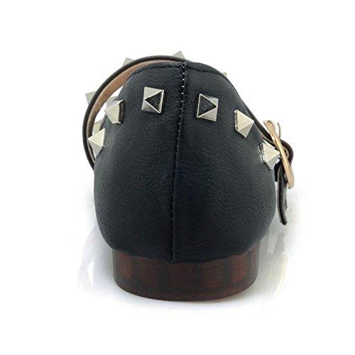 RAZAMAZA Femmes Mode Plates Escarpins Rivets Black