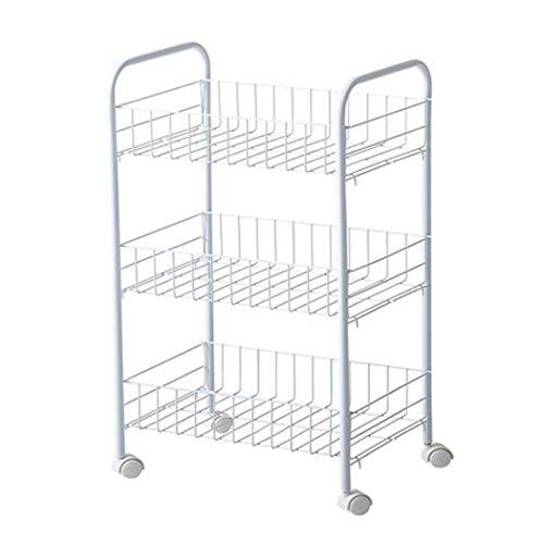 XMZFQ 3-Tier Mesh Draht Rollwagen Multifunktions Utility Cart Küche Storage Cart Stahldraht Korb Regale Trolley, Easy Moving,3Tier -