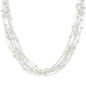 Valero Pearls Classic Collection Damen-Kette Hochwertige Süßwasser-Zuchtperlen in ca.  6 mm Oval weiß 925 Sterling Silber    43 cm + 5 cm Verlängerung   440510