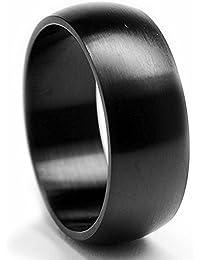 Ultimate Metals Co. 8MM Herren Schwarz Edelstahl Dome Ring,Bequemlichkeit Passen,Größe 54 to 74
