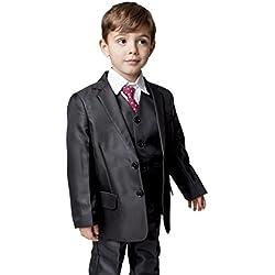 Traje clásico de niño que lleva los anillos a los novios, de Romario, 5piezas, color negro Negro negro 11-12 Años