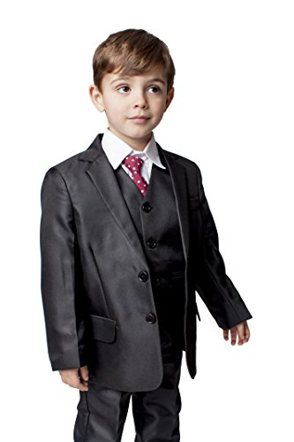 Traje clásico de niño que lleva los anillos a los novios, de Romario, 5piezas, color negro Negro...