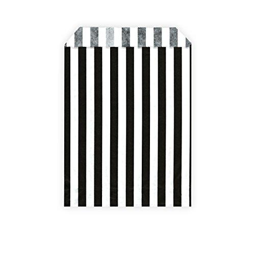 HouseholdBasics 50 Stück - Papierbeutel / Partytüten / Candy Bags - für Geschenke, Karten - verschiedene Größen und Muster (13 x 18 cm, schwarz / weiß (gestreift))