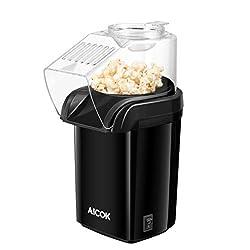 Popcornmaschine, Aicok Heißluft Ohne Popcorn Maker, Fett Fettfrei Ölfrei, Weites-Kaliber-Design mit Messbecher und abnehmbarem Deckel, BPA-Frei, schwarz.