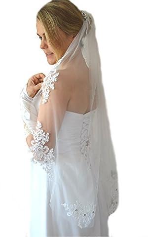 Schleier Brautschleier FEIN 1 Lage mit Kamm Strass Hochzeit Braut Weiß Ivory 85 cm (Ivory)