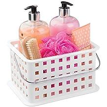 InterDesign Basic corbeille rangement, petit panier salle de bain en  plastique pour accessoires de douche 9df36bd080be