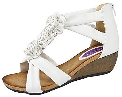 Lora Dora Womens T Bar Summer Sandals Low Wedges Heels Ladies Wedge Comfortable Shoes Size UK 3-8