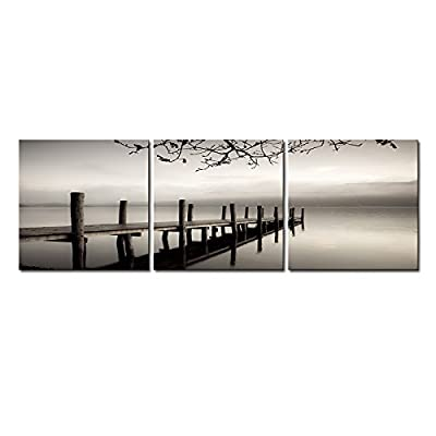 Wieco Art - Peace 3 Piece Modern Stretched and Framed Black and White Landscape Artwork Giclee Canvas Prints Landscape Pictures Paintings on Canvas Wall Art Artwork for Living Room Bedroom Home Decorations - cheap UK light store.