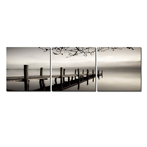 Wieco Art - Peace 3 Piece Modern Stretched and Framed Black and White Landscape Artwork Giclee Canvas Prints Landscape Pictures Paintings on Canvas Wall Art Artwork for Living Room Bedroom Home Decorations