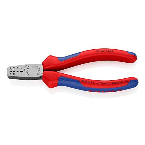 Knipex 97 62 145 A – Pince à sertir à profils trapézoïdaux pour embouts de câblage