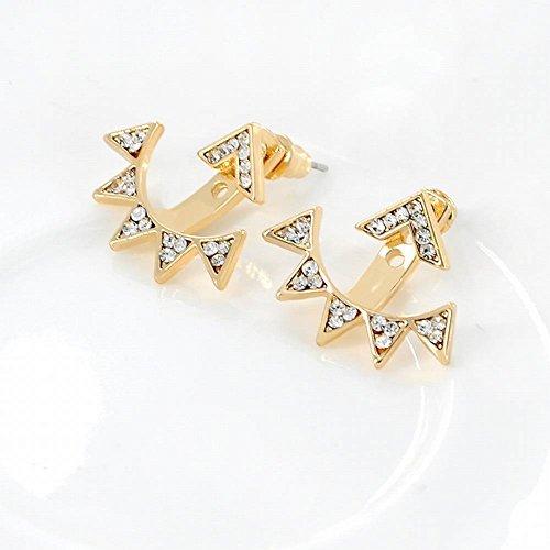 Thumby Geometrische Dreieck Nieten Mode Dame Persönlichkeit Siamese Kleine Spitze Dreieck Bohren Voll Ohrclip Schmuck, Gold (Nieten Dreieck-spitze)
