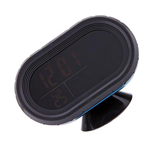 MagiDeal LCD Auto Digital Innen Außen Thermometer Spannungstester Spannungsmesser KFZ PKW Datum Uhr Alarm - Orange+Blau