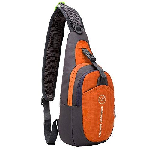 Tibes Sport Crossbody Tasche Leichte Sling Bag Tasche Frauen Brust Pack Nylon Wasserdichte Geldbörse für Männer / Mädchen Orange