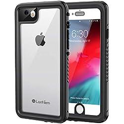 Lanhiem Coque Étanche iPhone 7, [IP68 Imperméable] [Antichoc] Full Body avec Protection écran intégré Antipoussière Anti-Neige Waterproof Etui pour iPhone 8, Noir