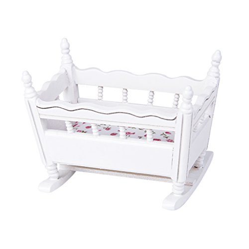 Generic 1/12 Dolls House Miniature White Wooden Nursery Cradle Baby Crib