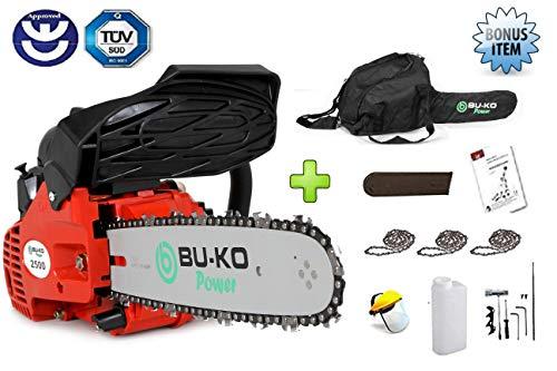 BU-KO Scie à chaîne essence 26 CC, poignée légère   3 chaînes et barre de 10'incluses   Housse de protection et équipement de sécurité compl