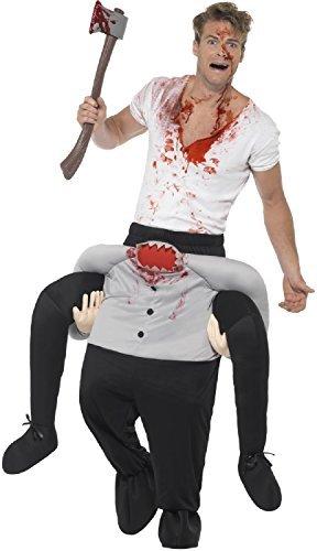 (Herren Erwachsene Huckepack darauf Reiten Schritt Kopflos Man Halloween Gruselig Horror unheimlich NEUHEIT lustig Kostüm Kleid Outfit)